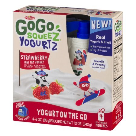PACK OF 12 - GoGo Squeez Yogurtz Low Fat Strawberry Yogurt, 4 - 3 oz pouches by GoGo SqueeZ (Image #6)