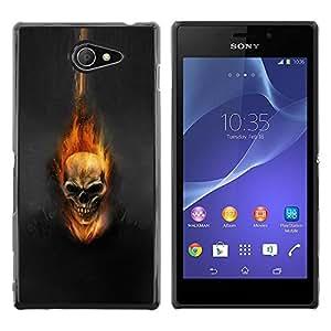 Planetar® ( Dark Flam Skull ) Sony Xperia M2 / Xperia M2 Aqua / Sony Xperia M2 DualFundas Cover Cubre Hard Case Cover
