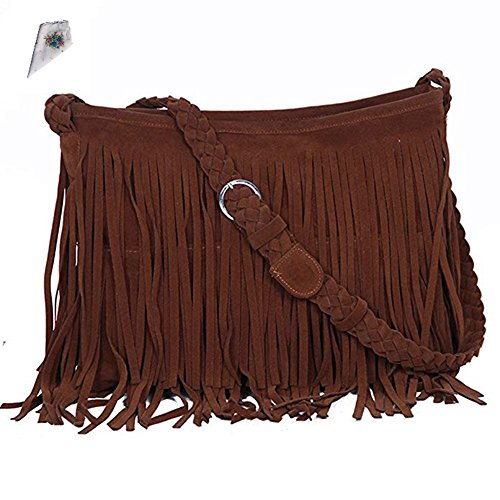 (Dillian Womens Fringe Tassel Faux Suede Messenger Bag Hobo Shoulder Bags Crossbody Handbag (Tan))