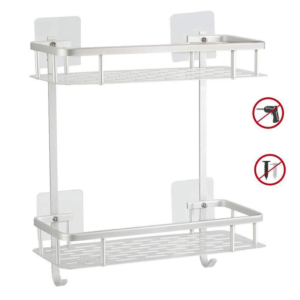 SWZY No Drilling Bathroom Corner Shelves 2 Tier Aluminum Shower Shelf Caddy Adhesive Storage Basket for Shampoo
