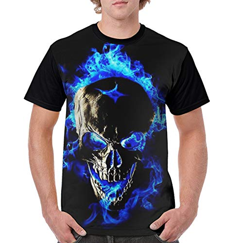 Blue Flame Skull Fire T Shirt Men Round Neck Summer Tee Tops Shirt