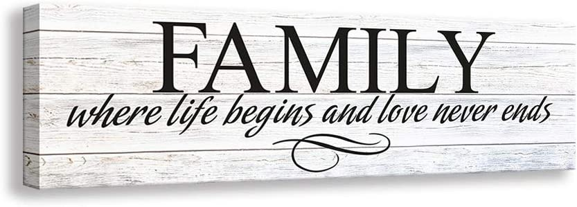 Kas Home Inspirational Quotes Motto Canvas Wall Art,Family Prints Signs Framed, Retro Artwork Decoration for Bedroom, Living Room, Home Wall Decor (8 x 24 inch, Family)