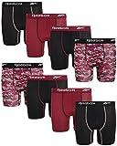 Reebok Boys Performance Quick Dry Compression Boxer Brief (Pack of 8), Size Medium, Black/Burgundy/Bergundy Camo