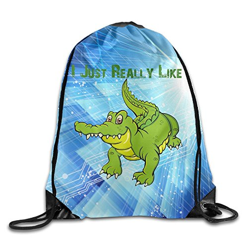 2018 I Just Really Like Crocodile Drawstring Bags Rowing Backpack For Teens College