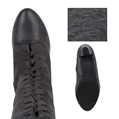 Stiefelparadies Damen Klassische Stiefel mit Stilettoabsatz Zipper Holzoptikabsatz Flandell Grau Grey