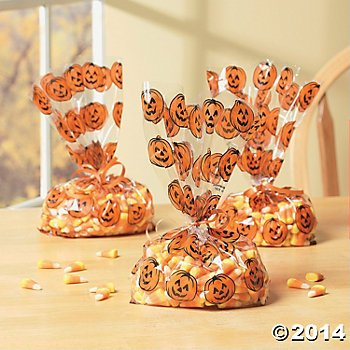 24 Cellophane Jack-O'-Lantern Goody Bags/Halloween Party Supplies/Treat Bags/Accesories