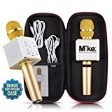 Wireless Microphone Karaoke Mic Amplifier Machine Bluetooth Handheld Portable Broadcast, Present, Youtube Songs Connect Android, Apple & Computers – By Karaoke-Mike(Gold)
