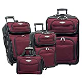 Travelers Choice Amsterdam 4-Piece Luggage Set, Burgundy