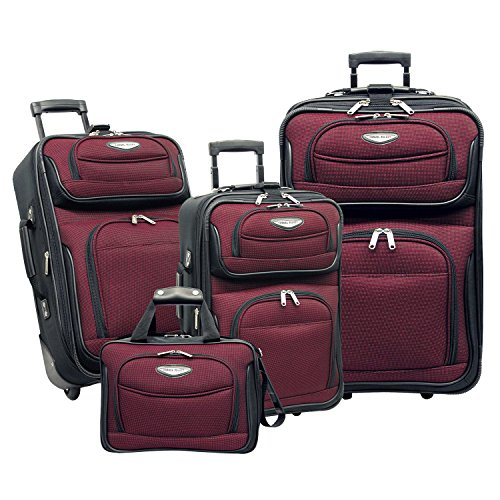 Tone Expandable Travel Set - Traveler's Choice Amsterdam 4-Piece Luggage Set, Burgundy