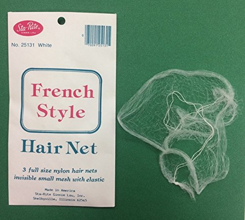 Sta-Rite Nylon Hair Nets 3 Ct. ( White ) Made In USA