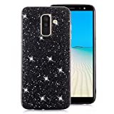 Samsung Galaxy A8 Plus 2018 Case [with Free Screen Protector],Funyee Luxury Shiny Sparkle Diamond Ultra-Thin Silicone Gel TPU Anti Scratch Durable Rubber Smart Case for Samsung Galaxy A8 Plus 2018,Black