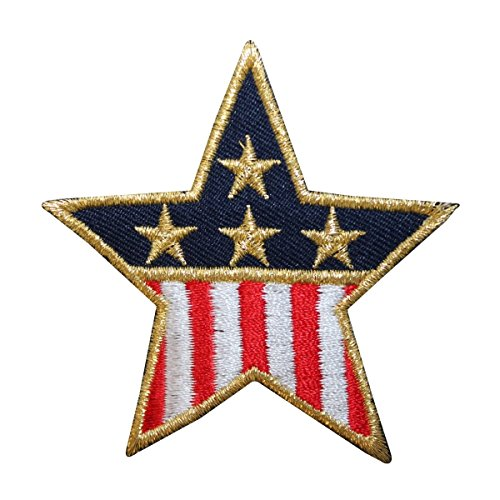 ID 1065C Patriotic Star Patch American Flag Banner Embroidered Iron On Applique Applique Embroidered Banner Flag