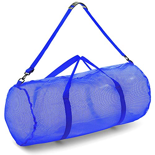 Champion Sports Mesh Duffle Bag with Zipper and Adjustable Shoulder Strap, 15 x 36, Blue - Multipurpose, Oversized Gym Bag for Equipment, Sports Gear, Laundry - Breathable Mesh Scuba and Travel Bag