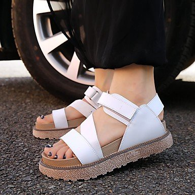 RUGAI-UE Las mujeres sandalias Tacones zapatos casual PU,verde,US5.5 / UE36 / UK3.5 / CN35 White