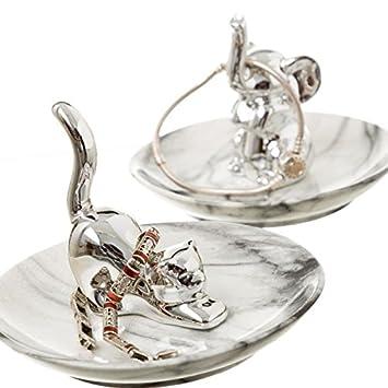 90f21495fd8d Dcasa - Plato joyero plata gato y elefante stoneware - Set 2 pieza   Amazon.es  Hogar