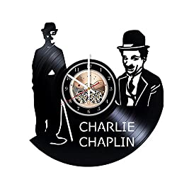 Charlie Chaplin Unique Wall Clock for bedroom, bathroom, kitchen, livingroom – gift idea for birthday, wedding, Mother's Day, Valentine's Day