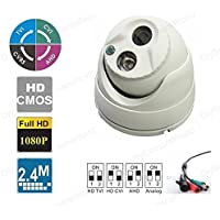 DiySecurityCameraWorld, Analog-960H/HD-(CVI+TVI+AHD) (4-IN-1) 1080P/2.4MP Small Eyeball Dome 3.6mm Matrix IR 65ft ICR indoor/outdoor White, BNC ouput, 12VDC