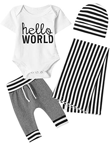 Dramiposs Newborn Baby Boys Hello World Blankets Outfits Black and White Stripes Romper with Hat (White,0-3 Months)