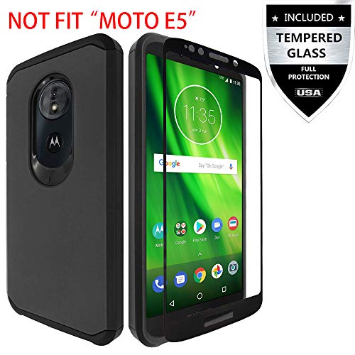 Moto E5 Play Case/Moto E5 Cruise Case with Tempered Glass Screen Protector,IDEA LINE Heavy Duty Protection Hybrid Hard Shockproof Slim Fit Cover for Motorola Moto E Play 5th Gen - Black
