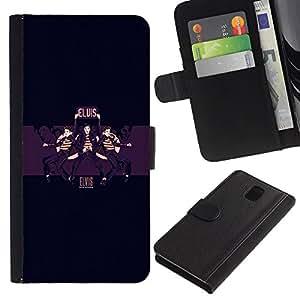 YiPhone /// Tirón de la caja Cartera de cuero con ranuras para tarjetas - Elvis - Samsung Galaxy Note 3 III