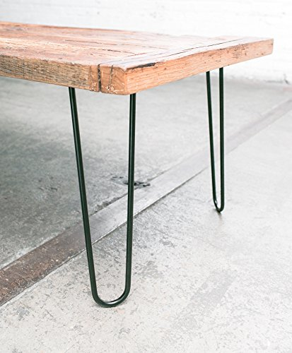 "Industrial By Design - 16"" Hairpin Table Legs - (Satin Black) Elegant Mid Century Modern - Two Rod Design - Premium Heavy Duty Build - Easy DIY Installation - Set of 4"