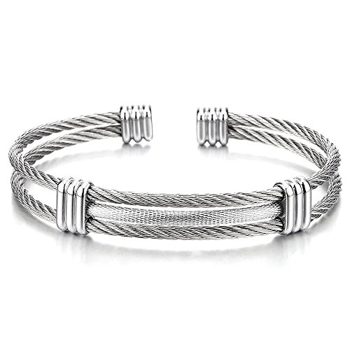 COOLSTEELANDBEYOND Men Women Stainless Steel Twisted Cable Adjustable Cuff Bangle Bracelet Silver Color