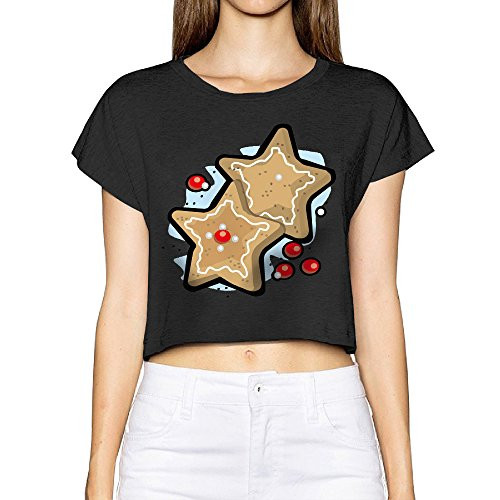 SOLONL Stars Cookies Female Midriff T-shirts S Black