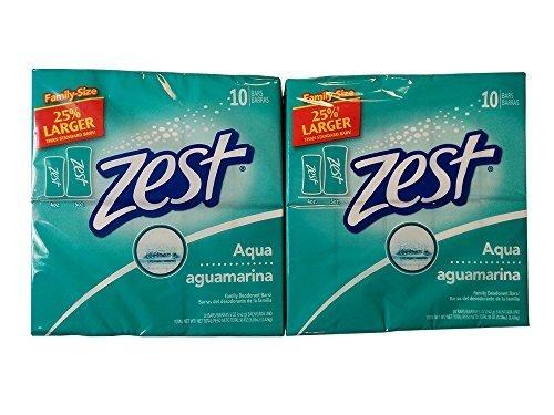 Zest Aqua Bar Soap 5 Oz, Bonus Size Bars 25% Larger, 10 Bar Pack (Pack of 2) 20 Bars Total