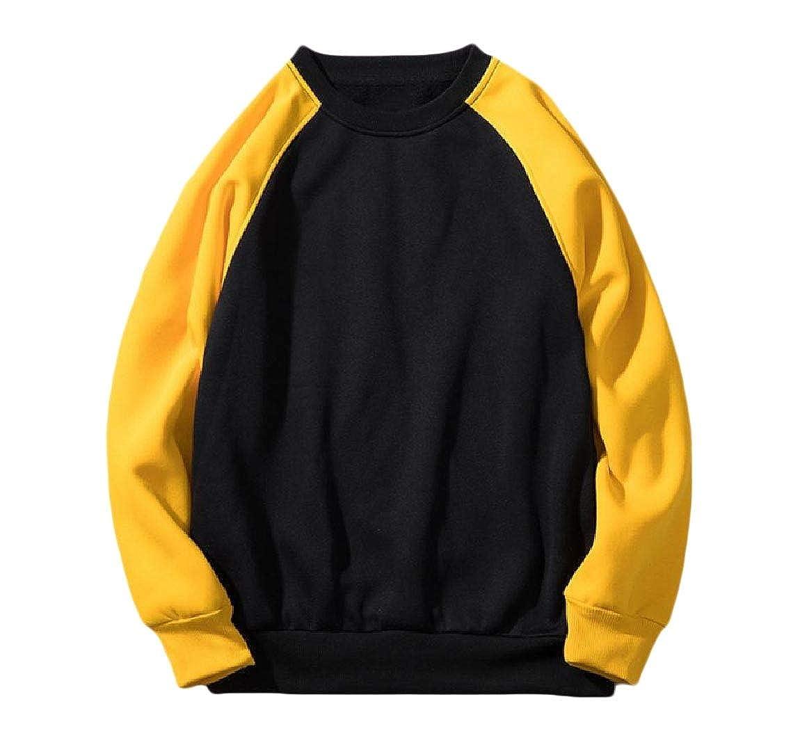 YUNY Mens Contrast Casual Raglan Sport Crew Neck Jacket Sweatshirts Black S