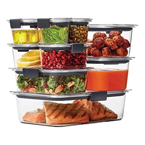 Rubbermaid Brilliance Food Storage Container, 20-Piece Set, 100% Leak-Proof, Plastic, Clear