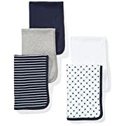 Moon and Back Baby Set of 5 Organic Reversible Lined Burp Cloths, Navy Sea, One Size