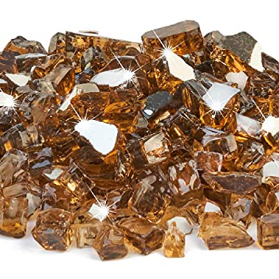 FutureWay Fire Glass 10 Pound - 1/2 Inch Fire Pit Glass for Indoor and Outdoor Natural or Propane Fire Pits Fireplaces, Amber Brown Reflective
