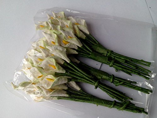 White Green 50 Mulberry Paper Calla Lily Flower Wedding Card Craft 1 cm.