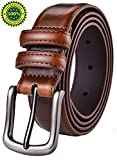 Mens Belt,HW Zone Genuine Leather Dress Belt Classic Casual 1 1/8'' Wide Belt With Single Prong Buckle