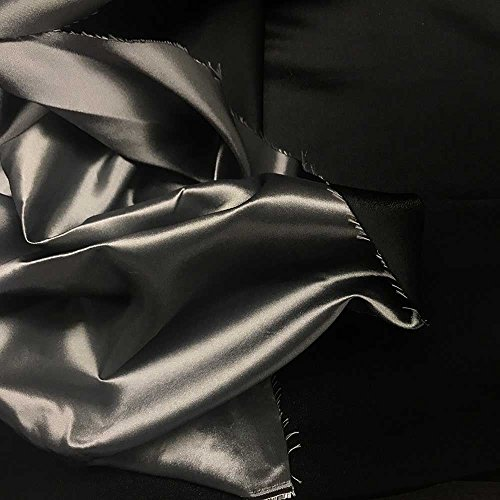 1 Yard Solid Black/Silver Damask Brocade Fabric 118