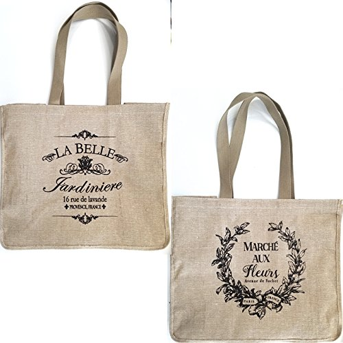 French Market-Garden Theme Burlap Shopping Tote Bag with Gold and Removable Silver Fleur di Lis Necklace-Pins-Shopping totoe-French tote-linen tote