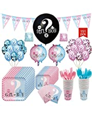 Baby Reveal Party Supplies Kit, Baby Boy or Girl Gender Reveal Decorations and Tableware Set , Pink and Blue Balloons, Plates, Cups, fork, Napkins, Banner and More - 151 Piece Party Pack