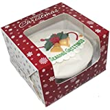 Premium Windowed Christmas SNOWFLAKE Cake Boxes 6x6xof 10 by Cater For You