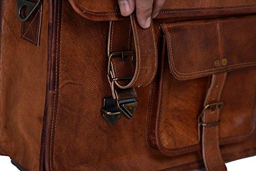 KPL 18 Inch Vintage Men's Brown Handmade Leather Briefcase Best Laptop Messenger Bag Satchel by Komal's Passion Leather (Image #2)