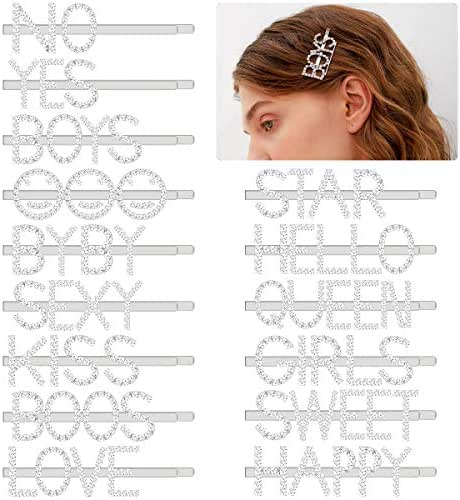 Madholly 15 Pieces Words Letter Hair Pins- Glitter Rhinestones Straight Letters Bobby Pins Word Barrettes, Sparkly Letter Hair Clips for Women Girls Ladies Hair Accessories