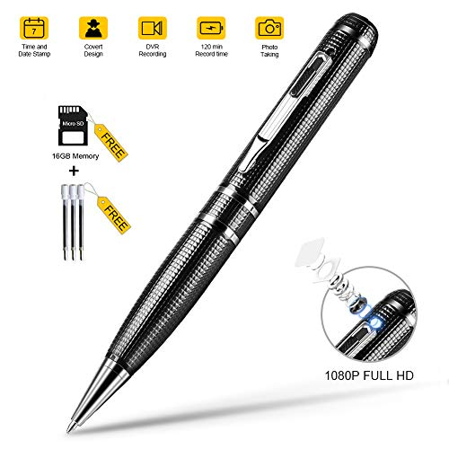 Hidden Camera Pen, Spy Camera with Video, 16GB Memory and 120 Mins of Recordings Time, 1080P HD Covert Cam with 3 Replaceable Ink Refills for Business/Daily Activities, USB Port Aluminum ()