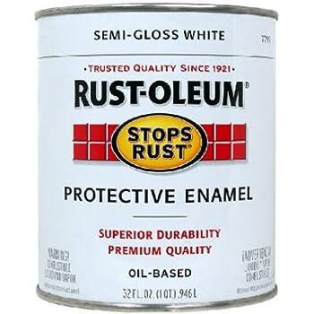 Rust-Oleum 7797502 Stops Rust, 32 oz. Quart, Semi Gloss White