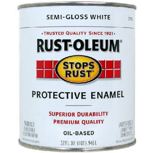- Rust-Oleum 7797502 Stops Rust, 32 oz. Quart, Semi Gloss White