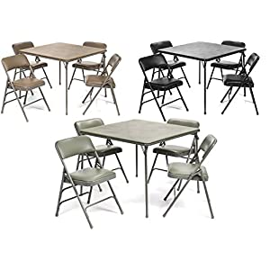 XL Series Vinyl Folding Card Table Chair Set (5pc) - Comfortable Padded Upholstery Easy Cleaning - Fold Away Design, Easy Storage - Premium Quality, Wheelchair Accessible