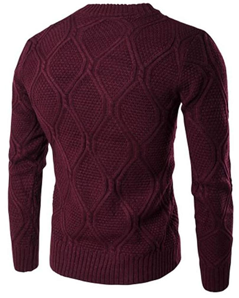Cromoncent Mens Solid Padded Woven Crewneck Knitted Pullover Jumper Sweaters