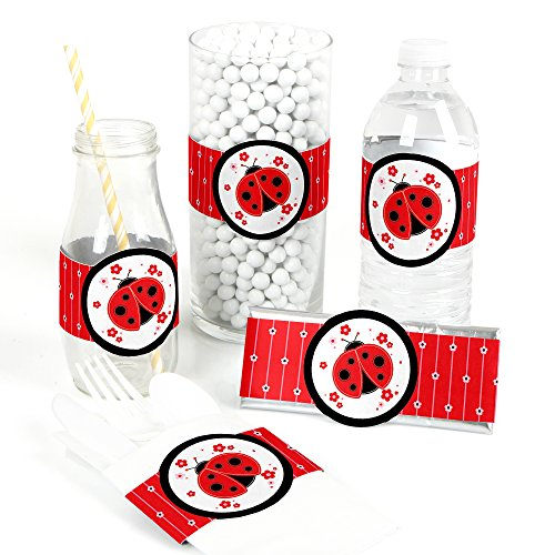 Modern Ladybug - DIY Party Supplies - Baby Shower or Birthday Party DIY Wrapper Favors & Decorations - Set of 15 (Ladybug Baby Shower Favors)
