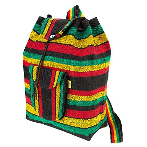 (PINZON Large Unisex Boho Aztec Schoolbag Foldable Rucksack Hippie Peace Canvas Backpack Bag Casual Daypack for Beach Unisex Bohemian Dufflebag College Rasta Rastafarian Jamaica Handmade in Mexico )