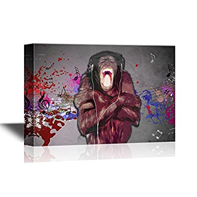 Canvas Wall Art - Chimpanzee Listinging to Music Funny Animal Concept - Gallery Wrap Modern Home Art | Ready to Hang - 16x24 inches