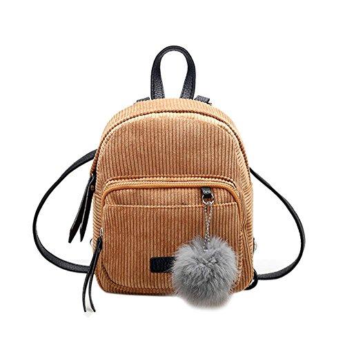 School Shoulder Ball YouN Women Bag Fur Small Khaki Backpack Mini Velvet Girl Winter qnwTzgU