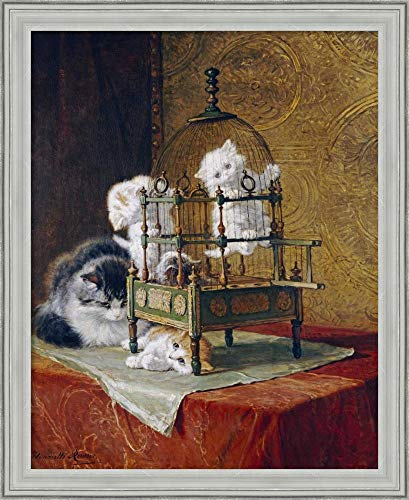 Framed Canvas Wall Art Print | Home Wall Decor Canvas Art | Caged Kittens by Henriette Ronner-Knip | Casual Decor | Stretched Canvas Prints